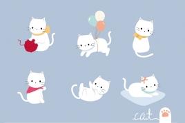 卡通可爱小猫咪儿童手机壳抱枕墙贴纸装饰插画矢量图案设计ai素材