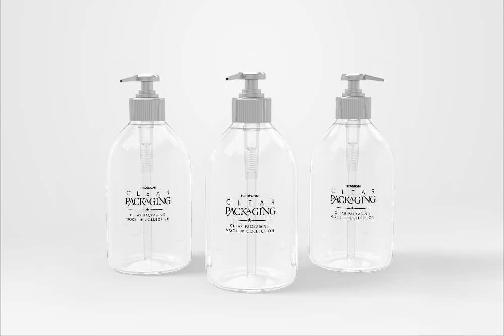 化妆品透明塑料包装瓶vi标签设计效果图智能贴图样机素材PSD模版
