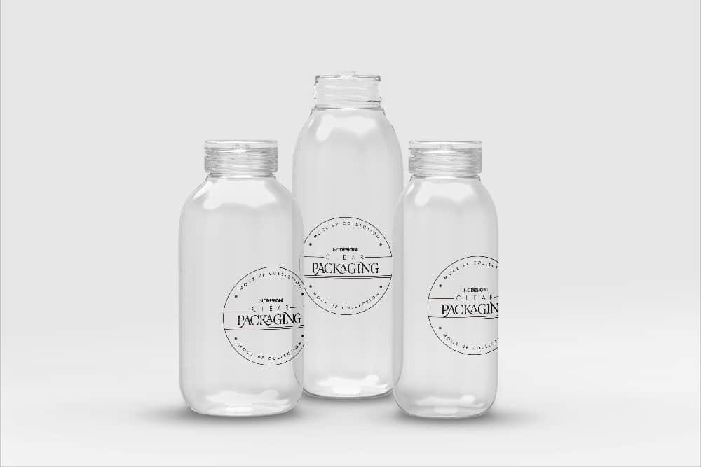 化妆品透明塑料包装瓶样机效果图智能贴图样机素材PSD模版