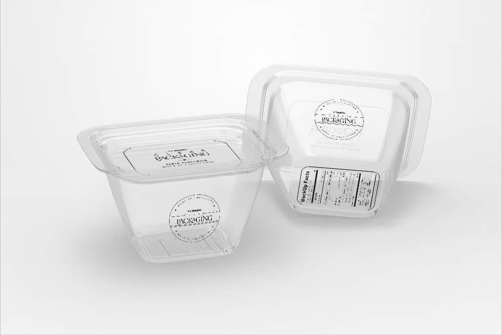 化妆品透明塑料盒智能贴图样机PSD效果图素材