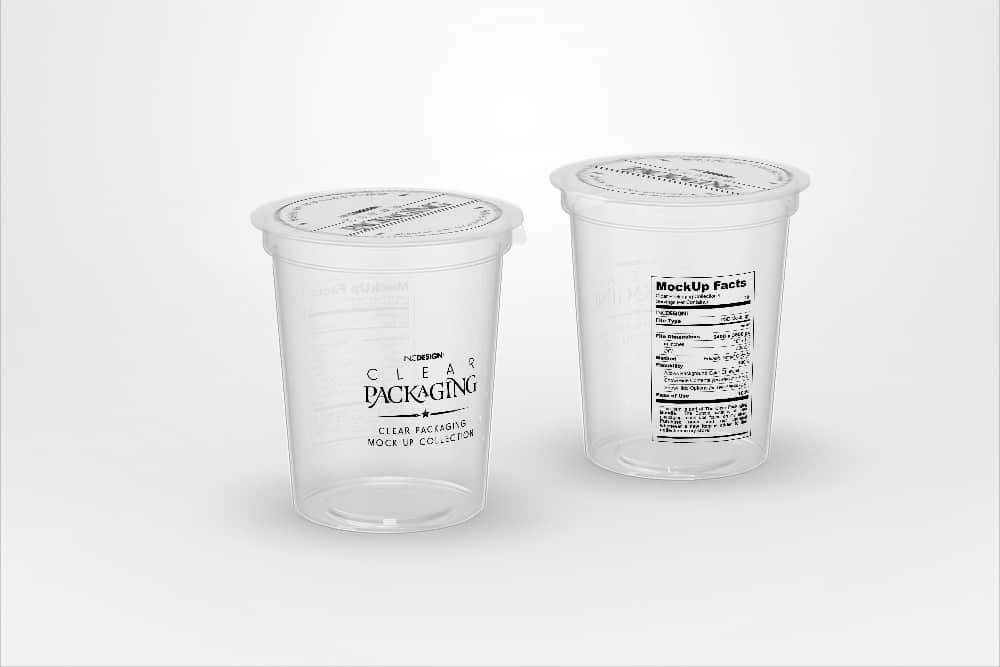 透明易撕盖塑料杯PSD效果图素材透明塑料包装样机智能贴图