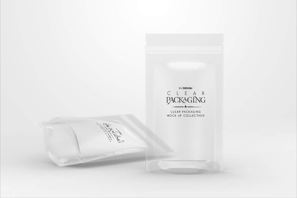 透明易自封口塑料袋效果图素材PSD样机智能贴图