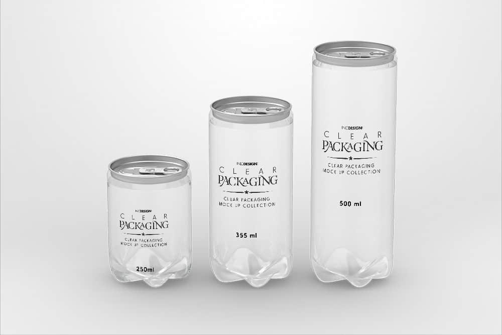 PSD智能贴图样机透明塑料易拉罐素材效果图素材