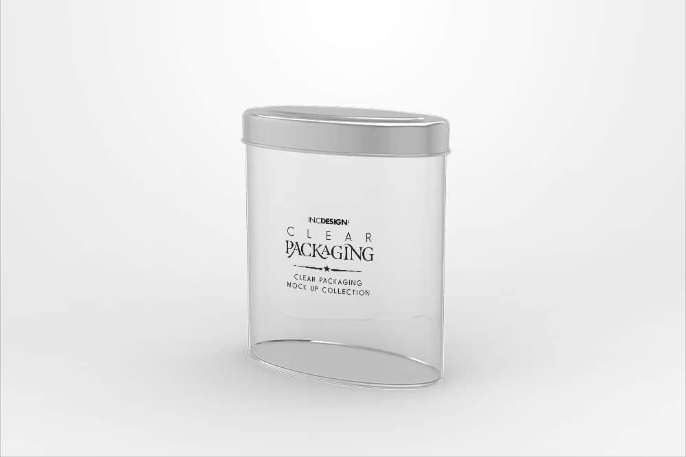 化妆品透明塑料包装智能贴图样机椭圆罐头效果图素材PSD模版