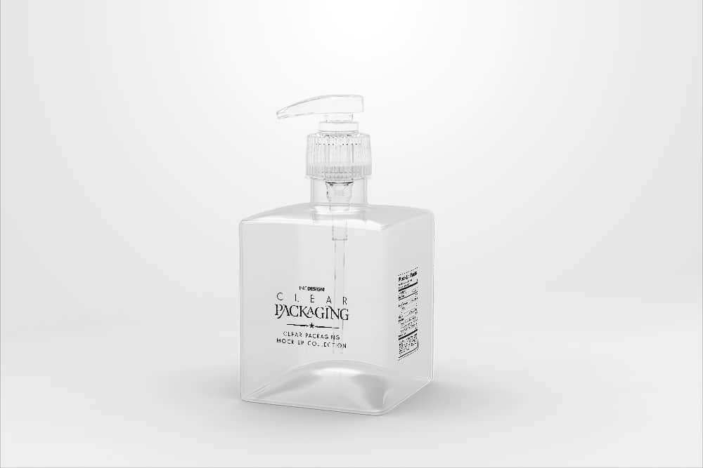 透明慕斯气泡瓶效果图PSD智能贴图样机
