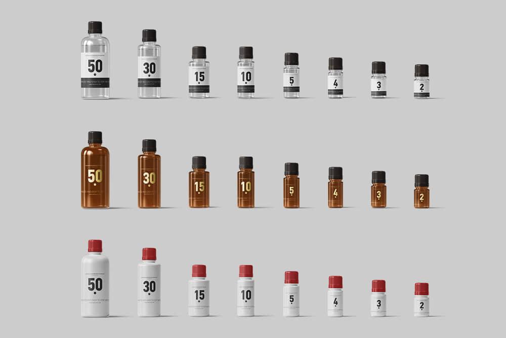 塑料瓶效果图香薰精油瓶分装瓶PSD样机透明PVC小瓶子素材