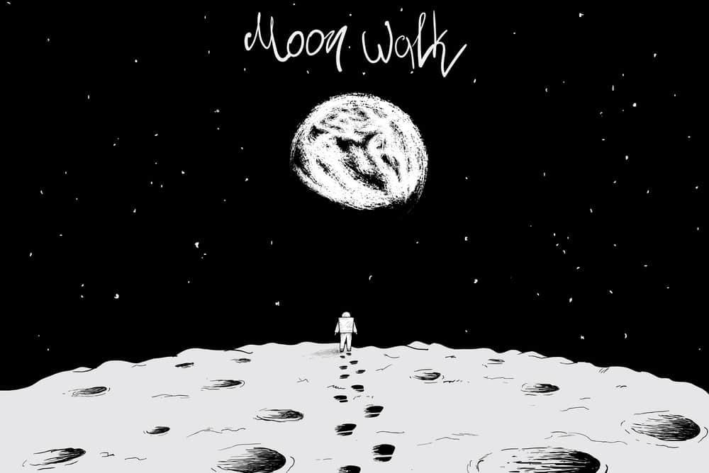 太空宇宙卡通宇航员月球电脑贴纸手机壳背景图案插画设计矢量素材