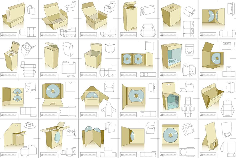 40个包装盒子DVD碟片环保纸袋平面包装设计展开刀版图模版ai素材