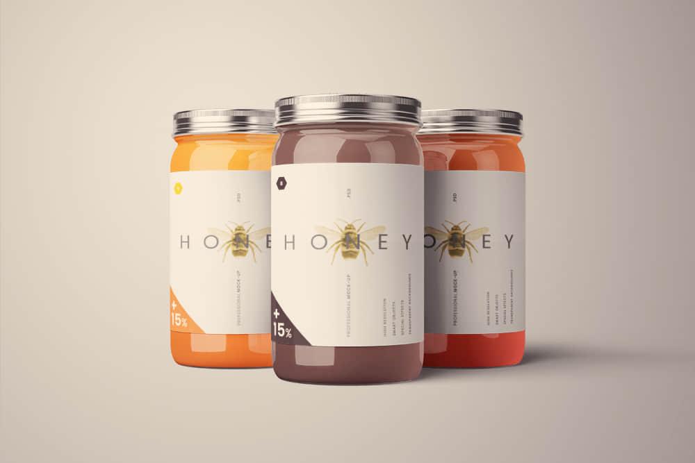 高档蜂蜜玻璃罐头餐饮品牌vi包装设计展示智能贴图样机ps素材模版