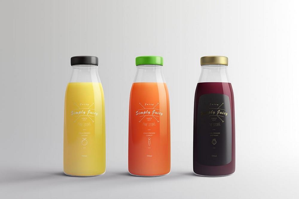 果汁产品包装效果图样机果汁瓶PSD素材玻璃瓶智能贴图