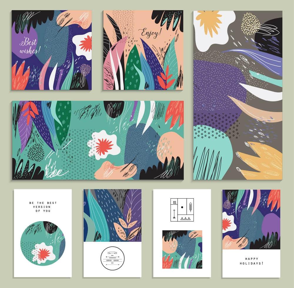 清新插画抽象艺术设计笔触纹理底纹背景海报eps矢量设计素材