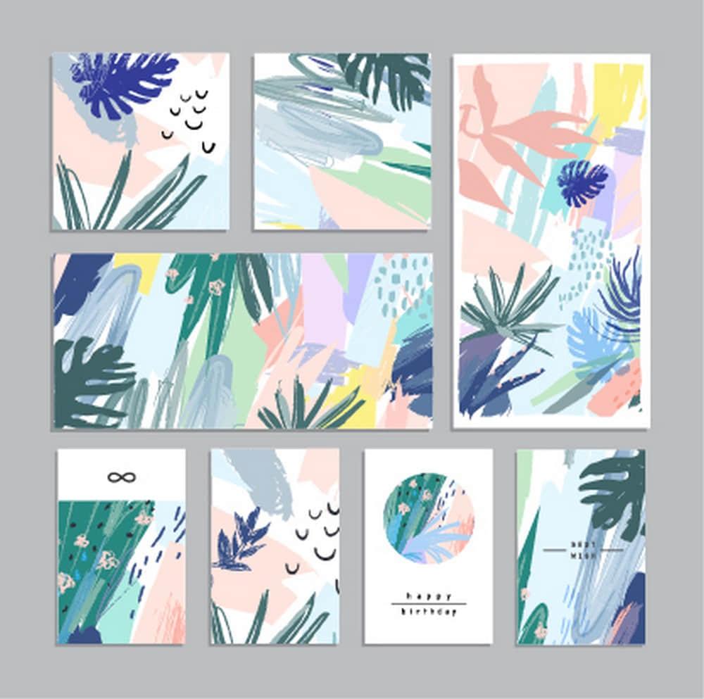 抽象艺术设计背景海报笔触清新插画纹理底纹eps矢量设计素材