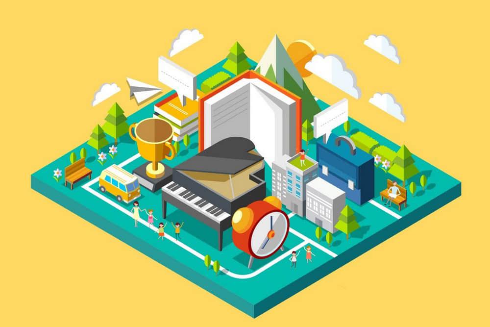 十款2.5D等距插画休闲娱乐户外宿营绿意盎 休闲生活插图设计AI矢量素材