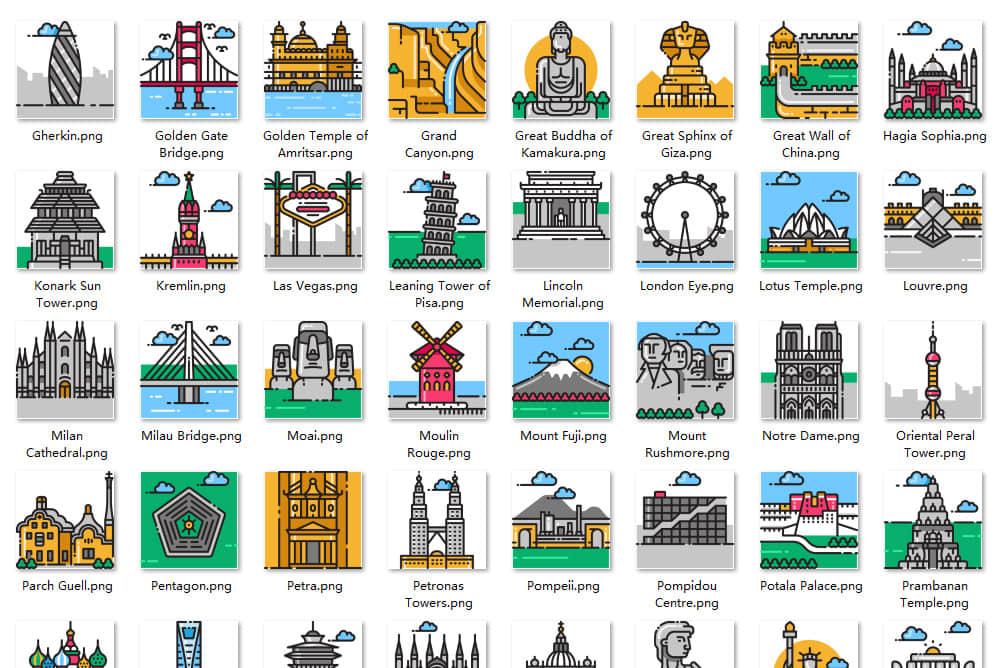 101款世界标志性建筑旅游景点手绘SVG图标icon矢量ai素材png格式