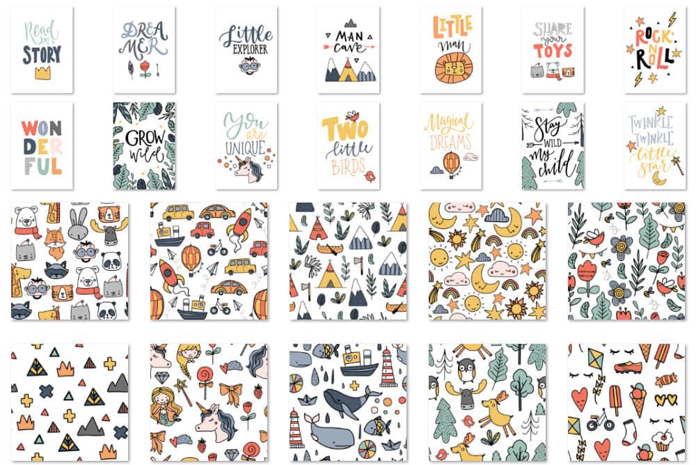 卡通可爱儿童手绘涂鸦家居墙贴纸装饰插画SVG图案背景eps矢量设计png素材图