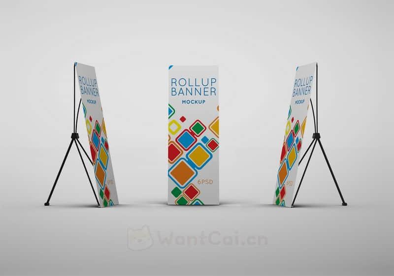 X展架智能贴图易拉宝模板PSD样机模板展示效果提案设计素材