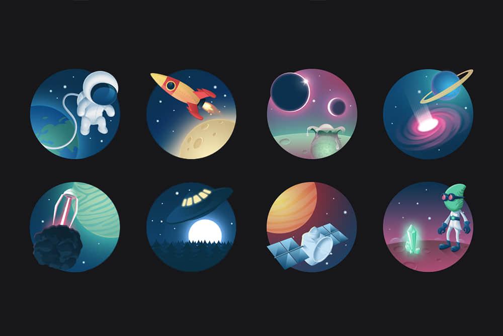 太空人系列外星人图标PSD插画素材