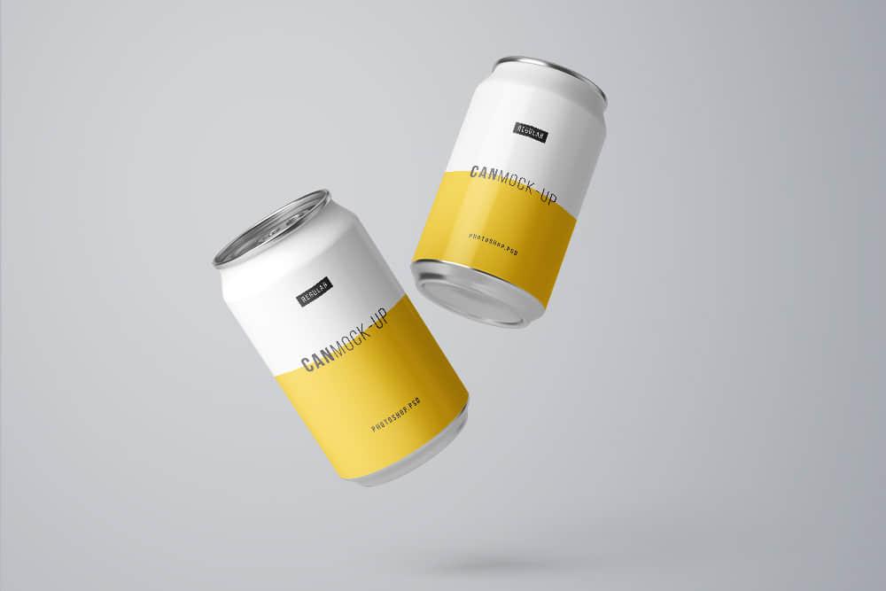 多角度啤酒可乐易拉罐装品牌vi设计logo展示智能贴图PSD分层样机素材