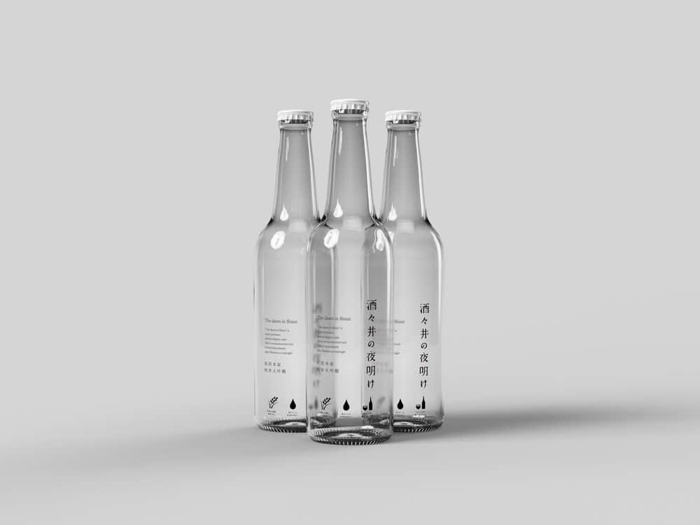 啤酒玻璃瓶包装样机PSD智能贴图透明啤酒瓶效果图