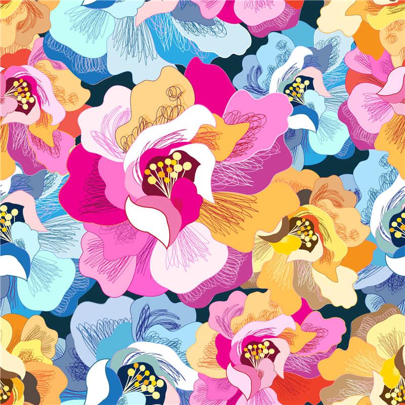 抽象艺术无缝纹理背景花卉手机壳T恤图案ai矢量图素材