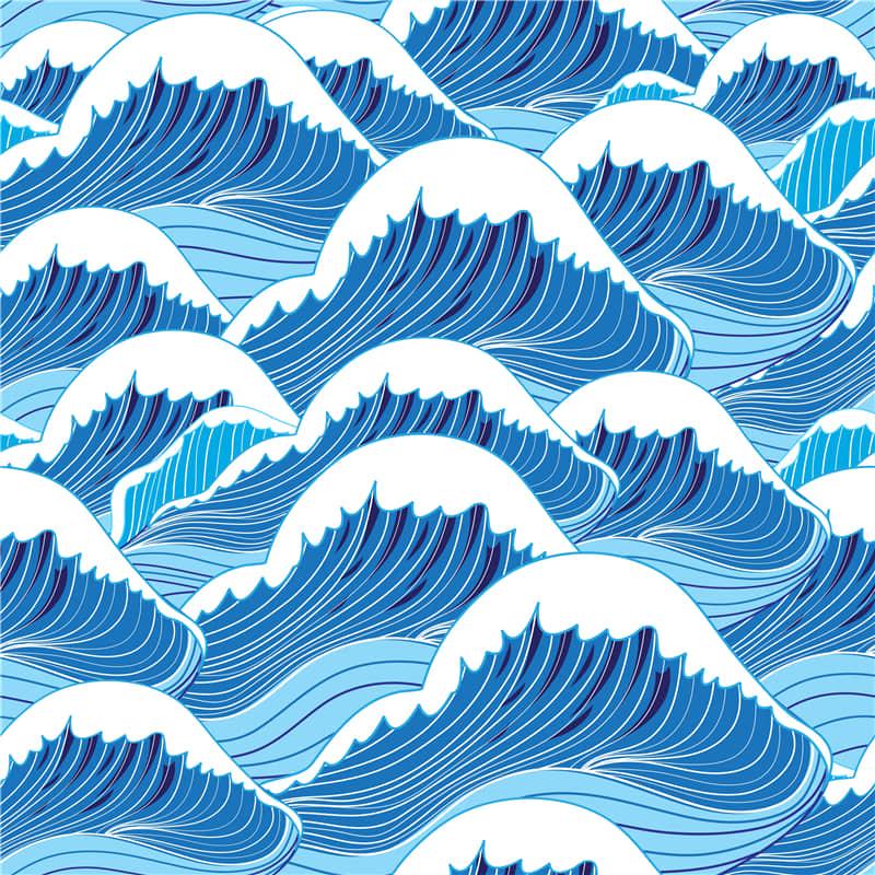 浮世绘浪花无缝纹理背景抽象艺术手机壳T恤图案ai矢量图素材