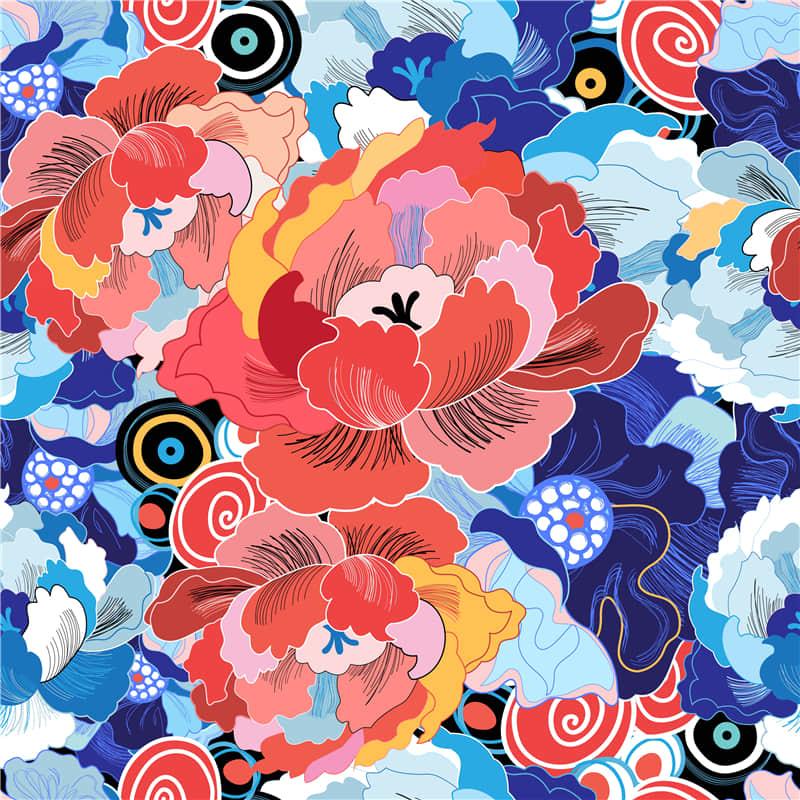 手机壳背景T恤图案抽象艺术花卉无缝纹理ai矢量图素材