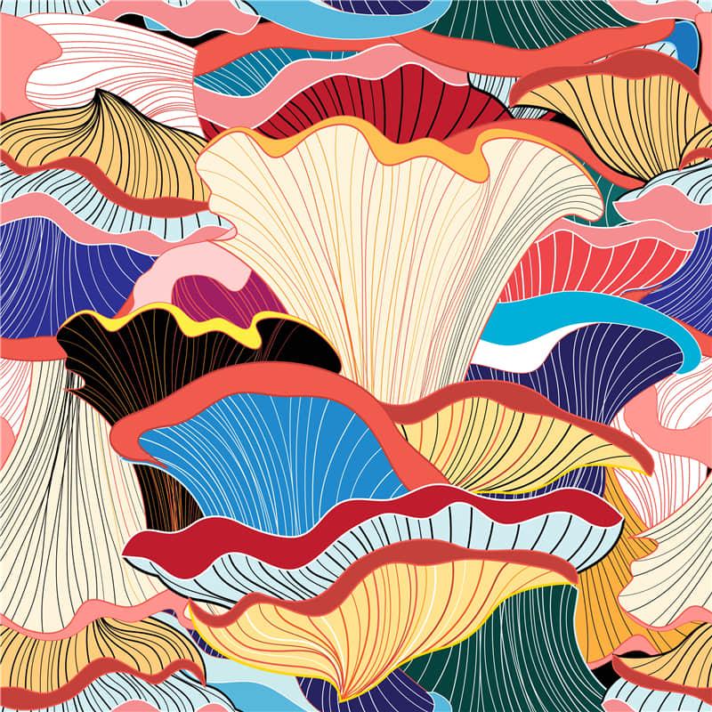 艺术花卉手机壳无缝纹理背景T恤图案抽象ai矢量图素材