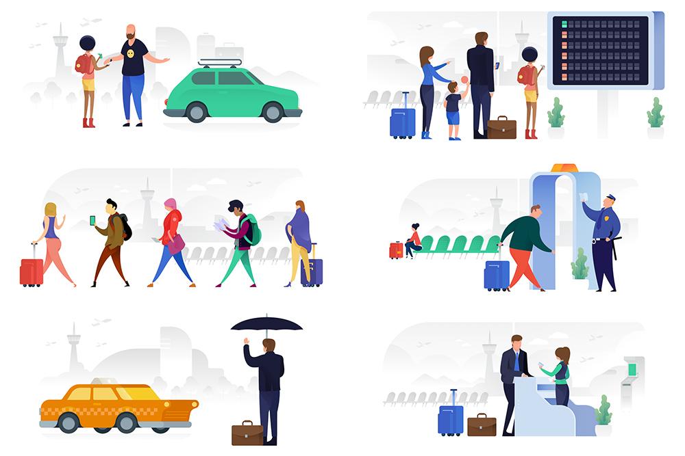 矢量插画Banner图机场候机安检排队取款checkin打车场景插画AI素材eps格式