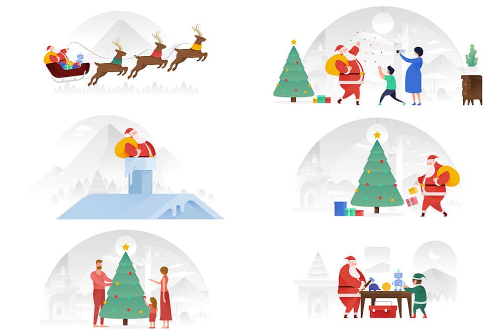 矢量插画Banner图圣诞节驯鹿圣诞树节日聚会圣诞老人礼物场景插画AI素材eps格式