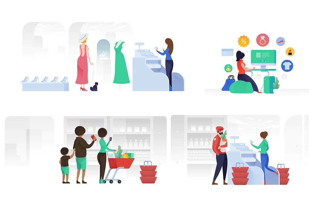 矢量插画Banner图商场购物超市收银网购服装店场景插画AI素材eps格式