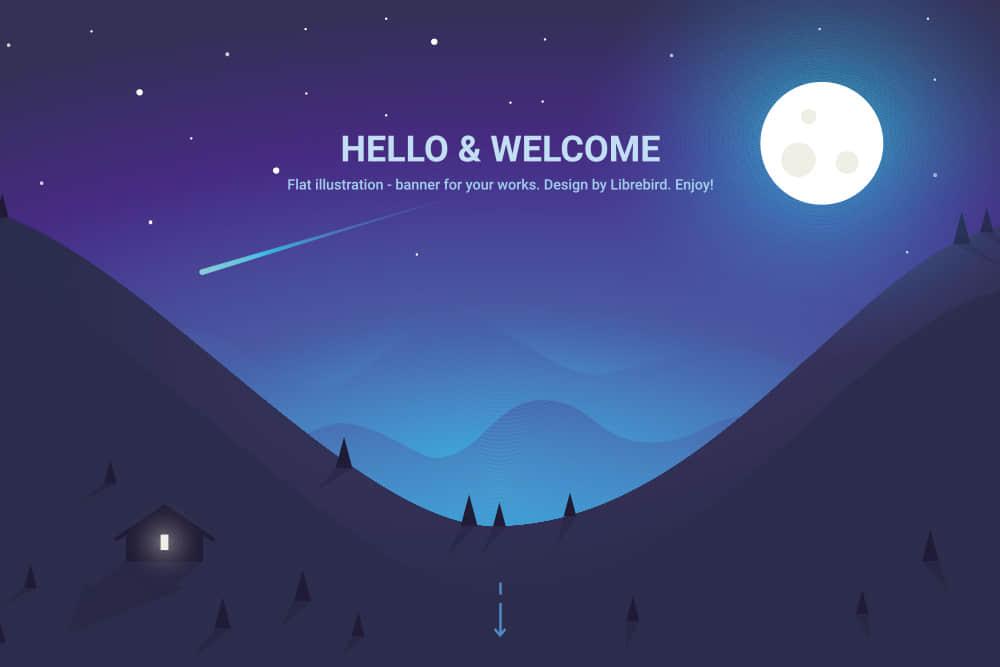 矢量Banner优雅渐变色背景图夜色流星森林满月eps格式素材