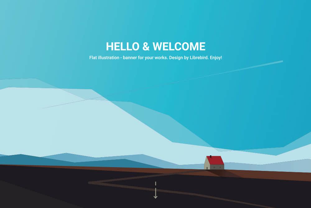 矢量Banner优雅渐变色背景图高原雪山eps格式素材