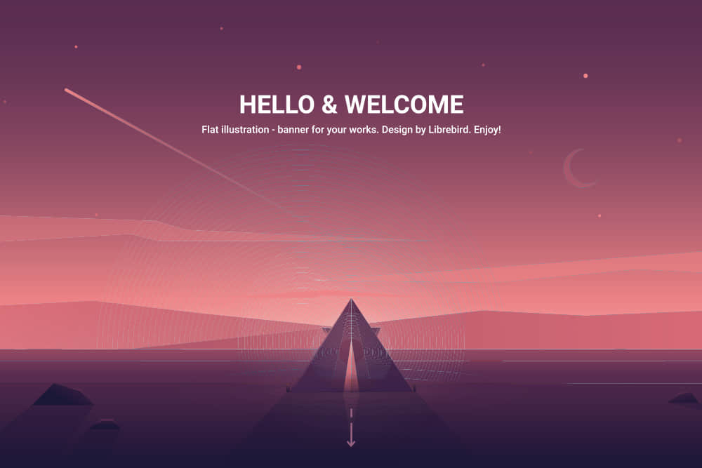 矢量Banner优雅渐变色背景图沙漠金字塔eps格式素材