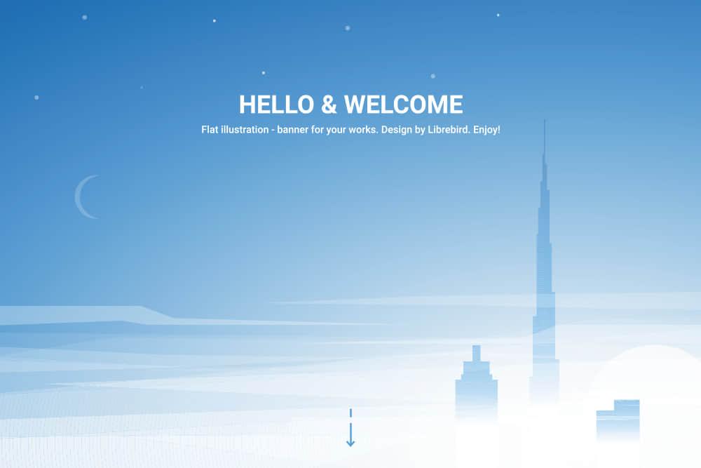 矢量Banner优雅渐变色背景图城市高空高楼新月eps格式素材