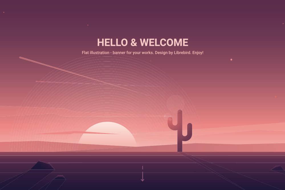 矢量Banner优雅渐变色背景图沙漠夕阳仙人掌eps格式素材