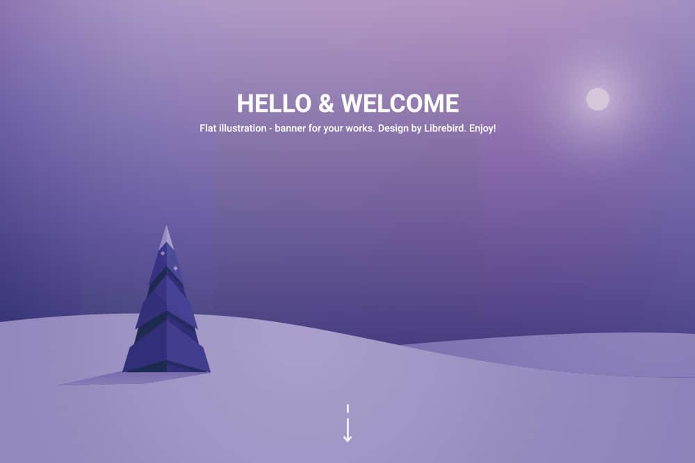 矢量Banner优雅渐变色背景图紫色雪地场景eps格式素材