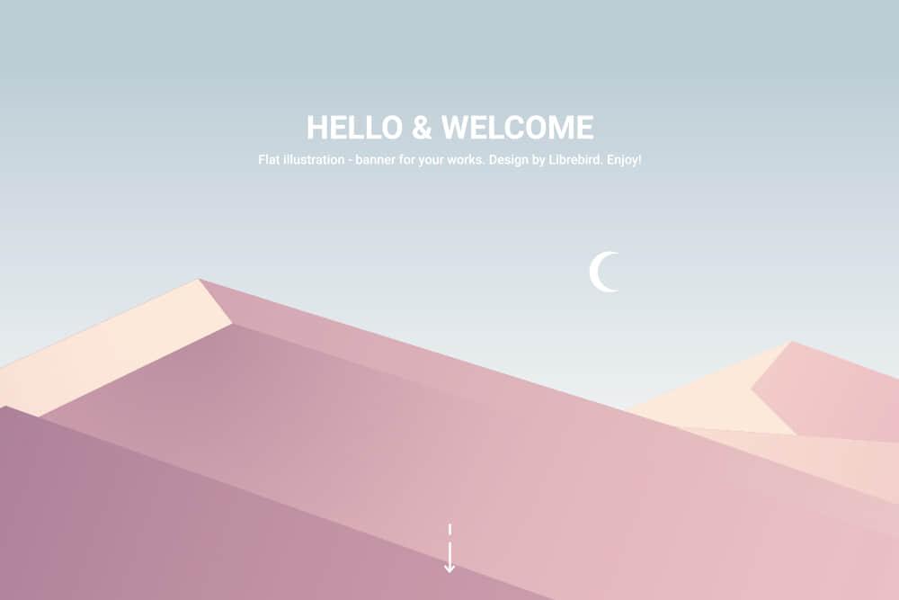矢量Banner优雅渐变色背景图沙漠沙丘场景eps格式素材
