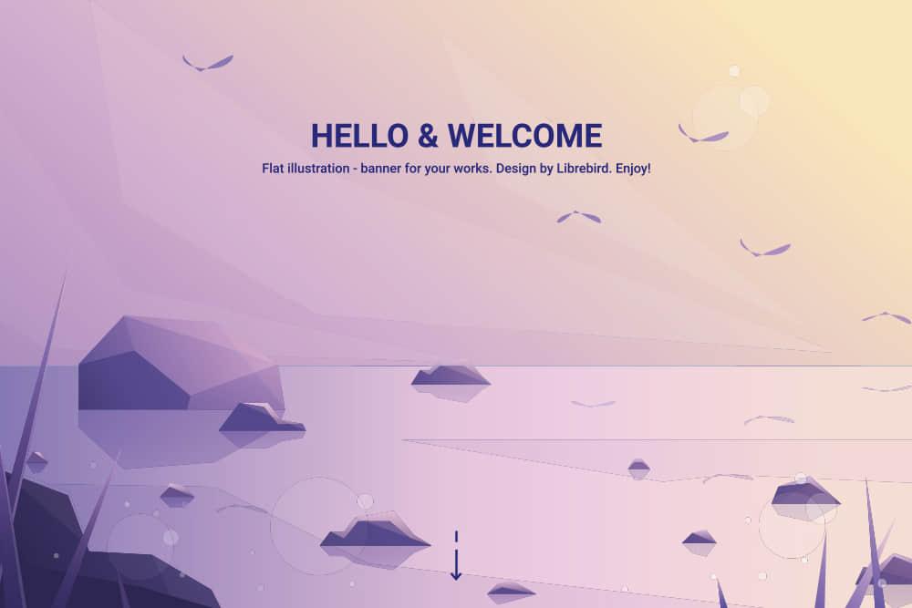 矢量Banner优雅渐变色背景图礁石海滩岸边海鸥夕阳场景eps格式素材