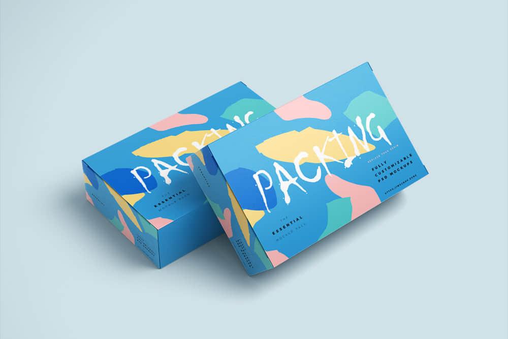 包装智能贴图礼物包装纸盒样机时尚礼盒效果图psd设计素材模板