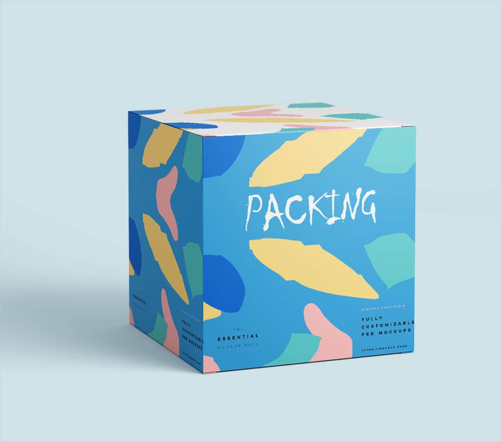 包装智能贴图时尚礼盒效果图psd设计素材模板礼物包装纸盒样机