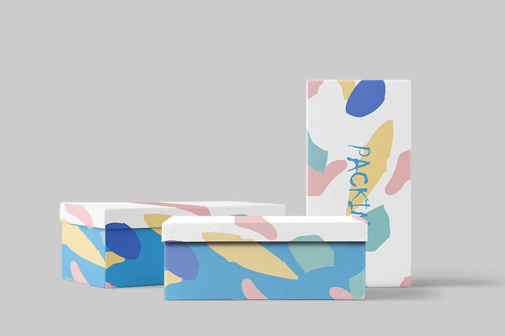 包装智能贴图样机psd设计素材礼物包装纸盒模板时尚礼盒效果图
