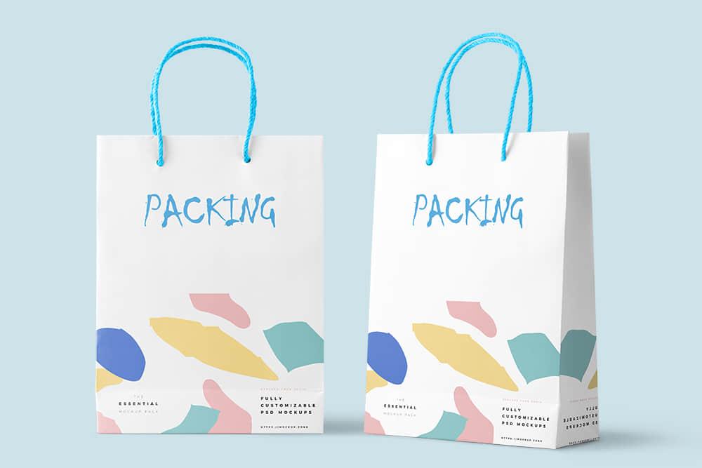 手提袋智能贴图样机psd设计素材时尚礼袋效果图礼物包装纸袋模板