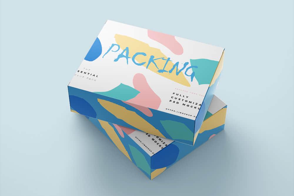 礼盒效果图psd设计素材样机时尚礼盒智能贴图模板