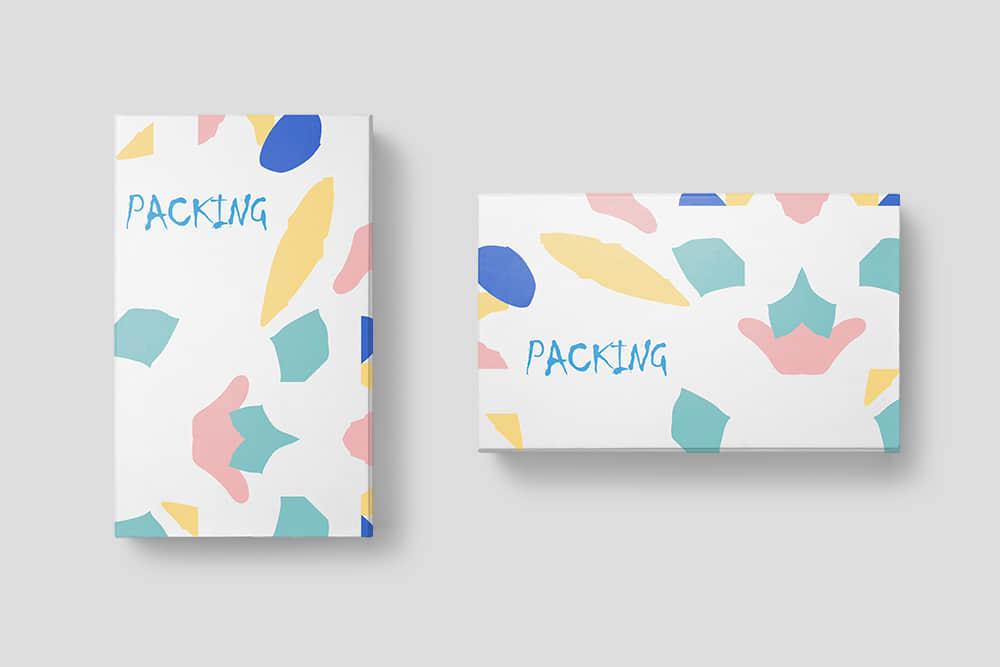 礼物包装纸盒包装智能贴图样机psd设计素材模板时尚礼盒效果图