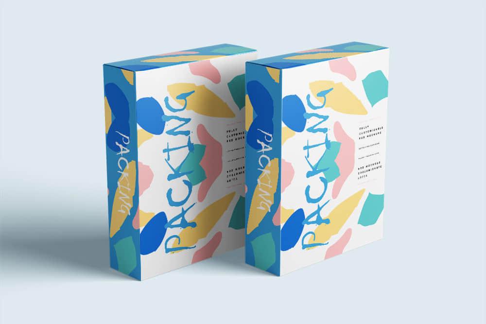 礼物包装纸盒包装智能贴图样机素材模板时尚礼盒效果图psd设计