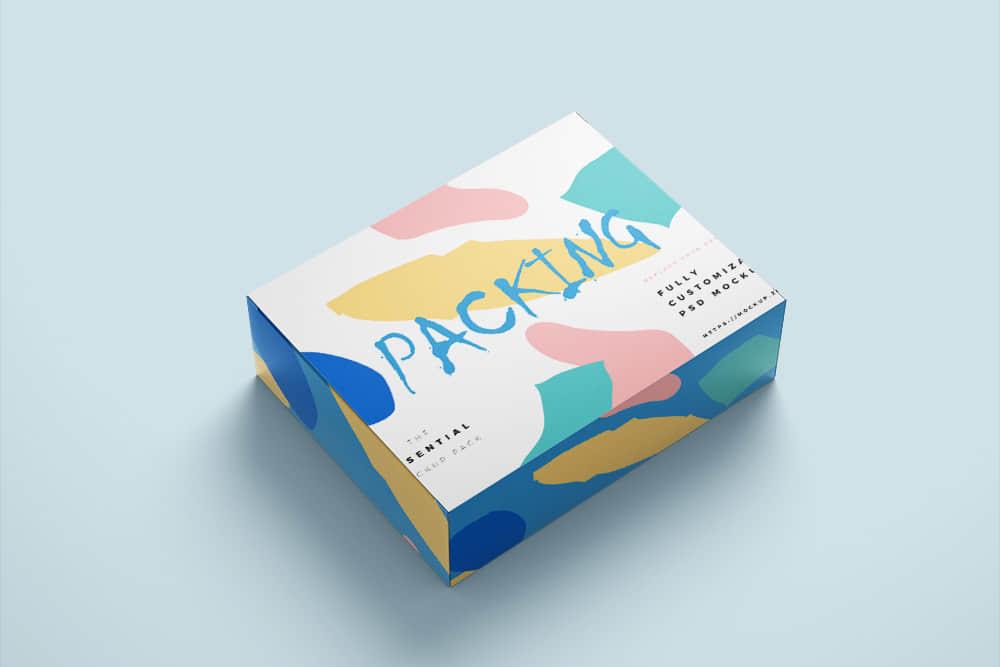 礼物包装纸盒效果图样机时尚礼盒智能贴图psd设计素材模板
