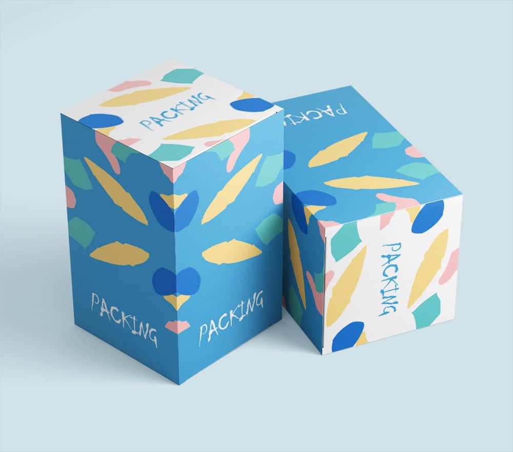 礼物包装纸盒样机时尚礼盒智能贴图效果展示贴图psd设计素材模板