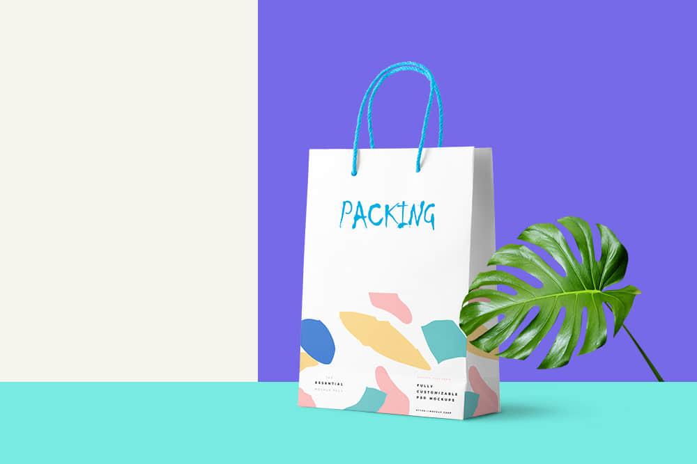 礼物纸袋模板时尚手提袋效果图礼物手提袋智能贴图样机psd设计素材