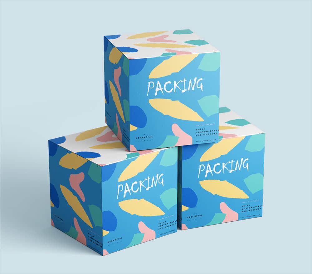 时尚礼盒效果图psd设计素材包装智能贴图模板礼物包装纸盒样机