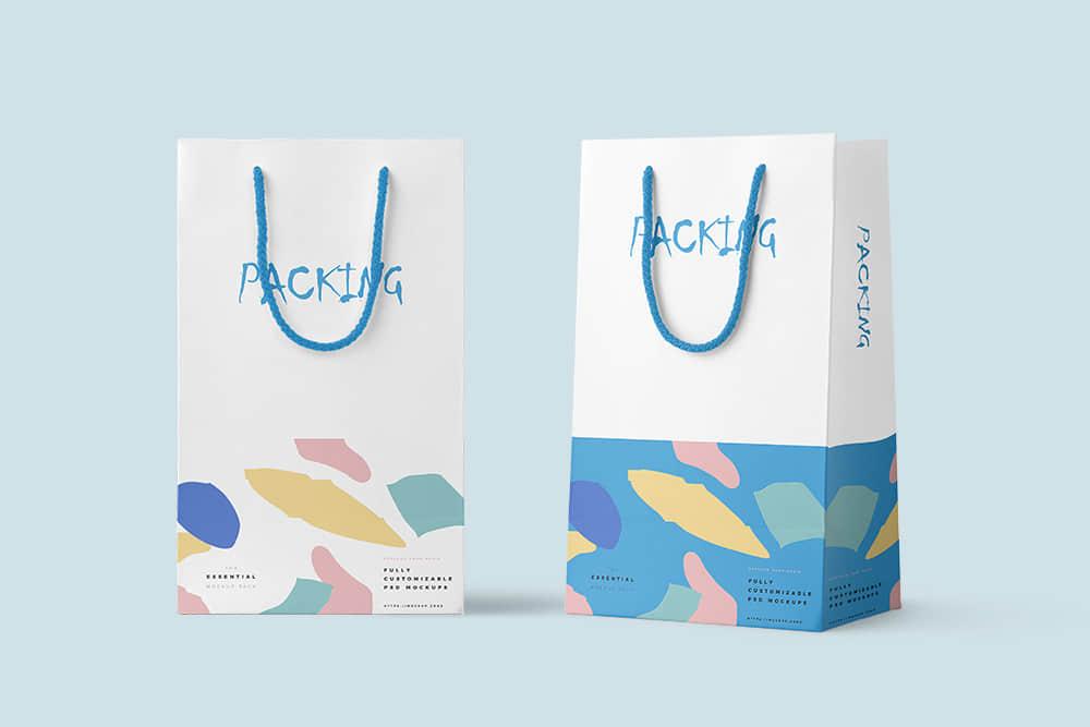 时尚礼袋效果图礼物手提袋智能贴图样机psd设计素材礼物包装纸袋模板
